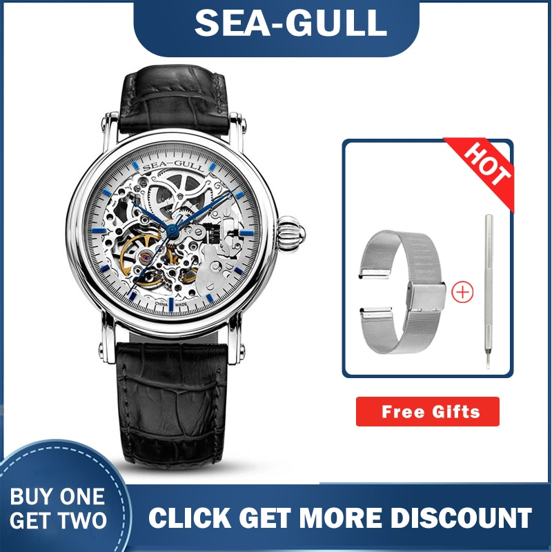 Seagull watch MAN m182sk Automatic Mechanical women's Watch Self Winding Power Reserve Flywheel red band red needle enlarge