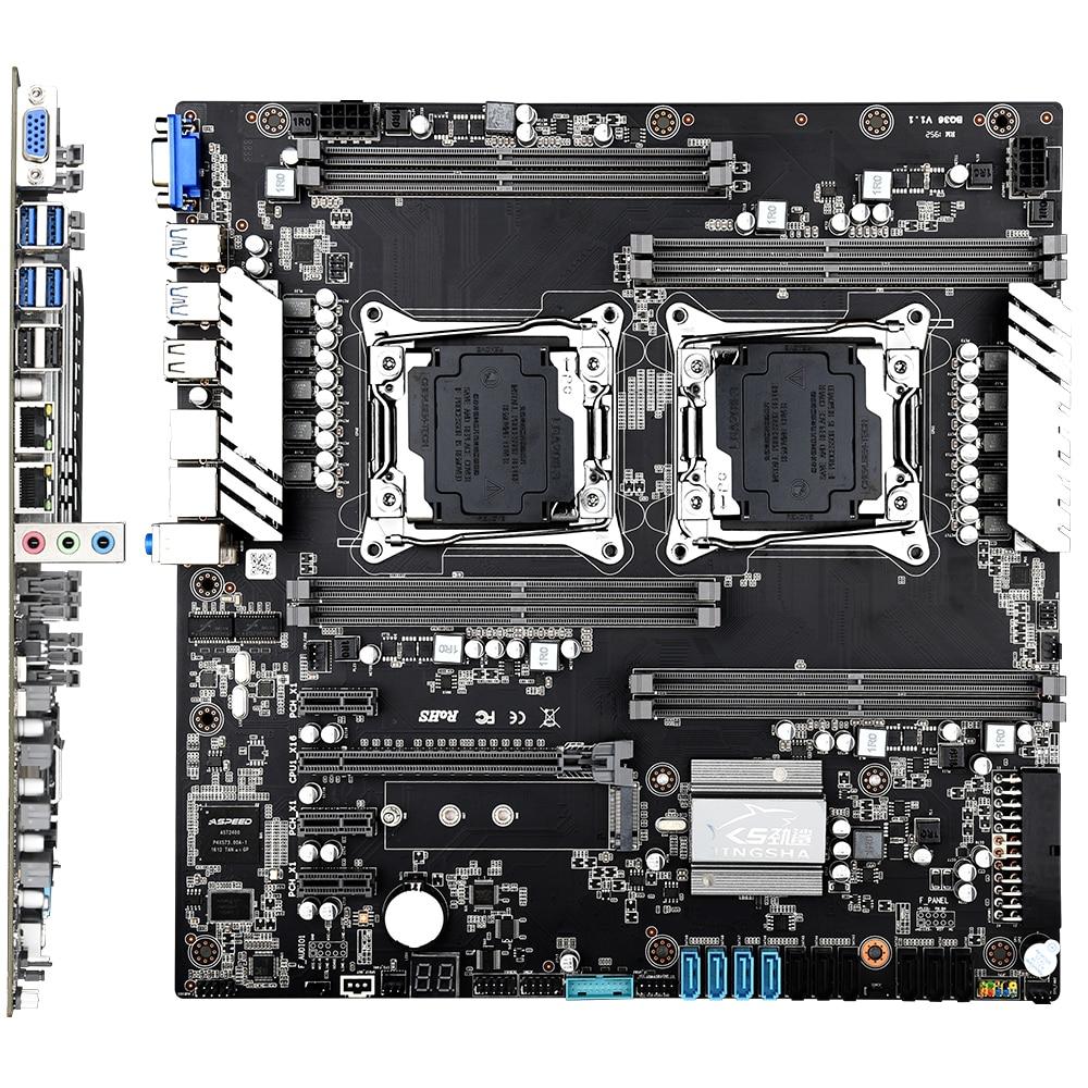 X99 Dual CPU Mining Motherboard LGA 2011-3 E5 V3/V4 DDR4 Socket Support Mining Chia Coins USB3.0 10* SATA3.0 NVME M.2 8* DDR4