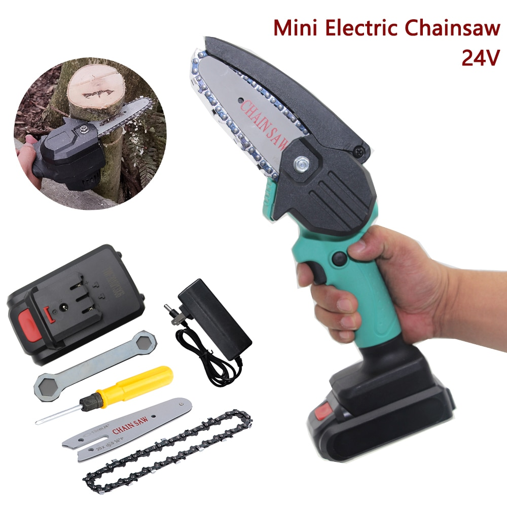 24V 550W Mini Electric Chain Saw Wood Cutting Lithium Battery Pruning Chainsaw Garden Tool Rechargeable Woodworking Tool