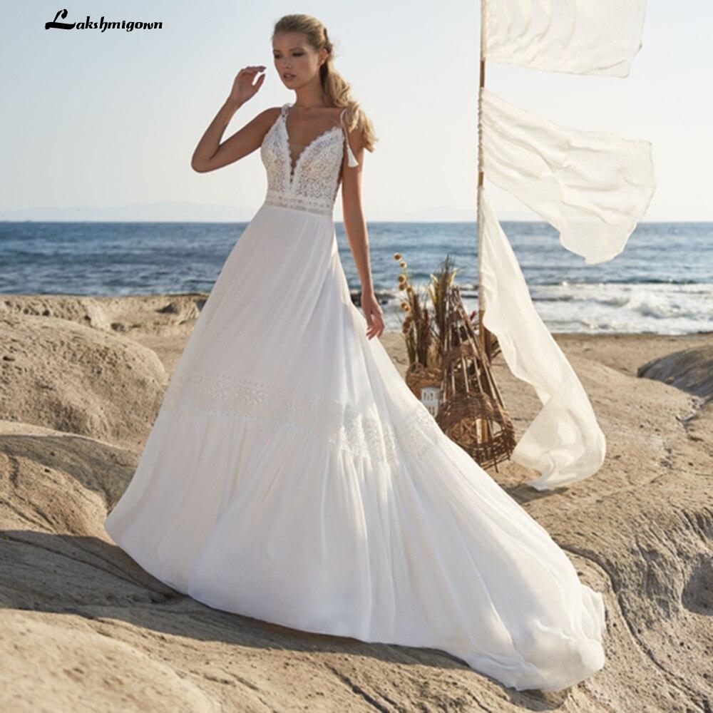 Vestidos De novia bohemios De encaje con tirantes finos, para playa y...