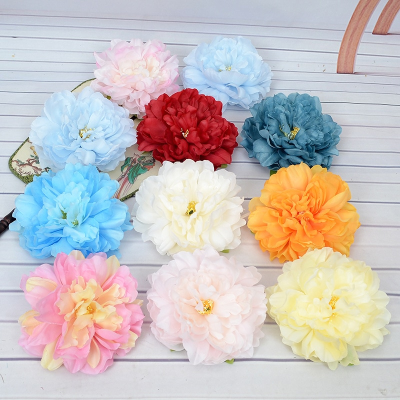 10Pcs Artificial Silk Peony Flower Heads for Wedding Flower  Arrangement Background Wall Decoration Floral Art Home Fake Flowers