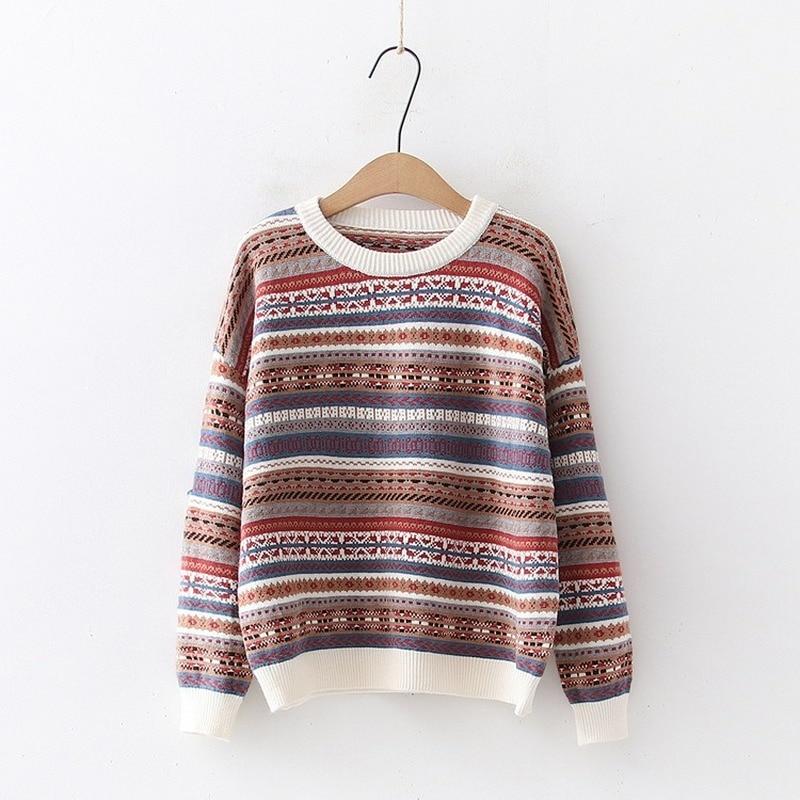 Versión coreana de retro rayas suéter jacquard mujeres suéter suelto cuello redondo Jersey jersey tejido de las mujeres