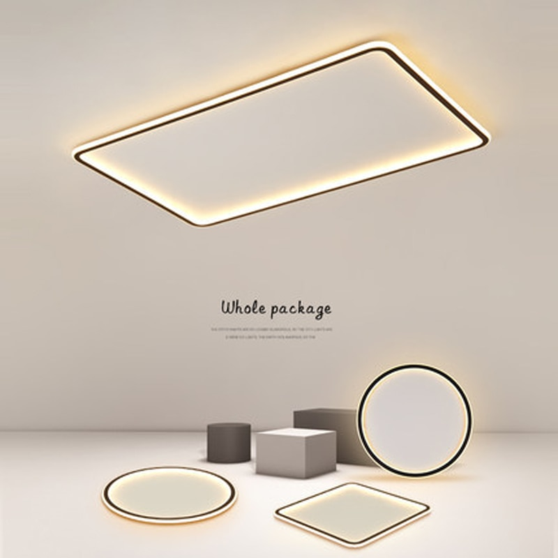 Minimalist Ultra-thin Led Chandeliers Modern Round Square Living Room Bedroom Lamp Lighting Black White Lustre Ceiling Lights round square led ceiling lights for living room lights bedroom home white and black iron acrylic modern led ceiling lamp fixture