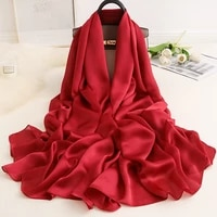 solid color silk hijab scarf for women shawls and wraps fashion head scarfs female long stole neckerchief scarves for ladies red