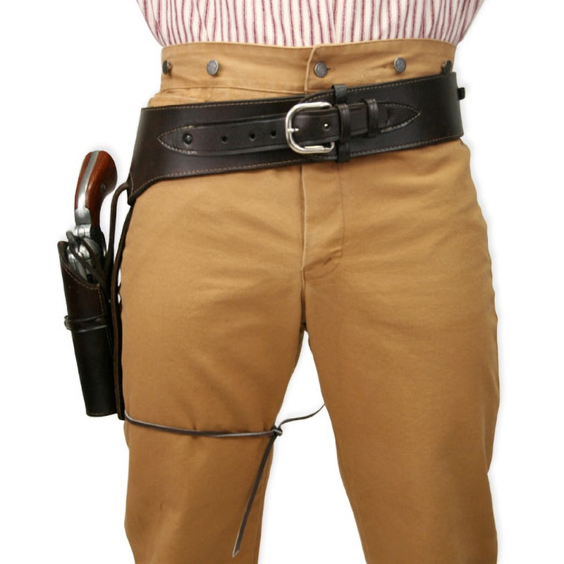 Wild West Hip Gun Belt Holster Old Western Cowboy Leather Pistol Revolver Holder Fast Draw Rig Pirat
