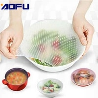 4pcs silicone food wraps reusable keeping food fresh salad wrap bowl vacuum cover stretch lid kitchen accessories