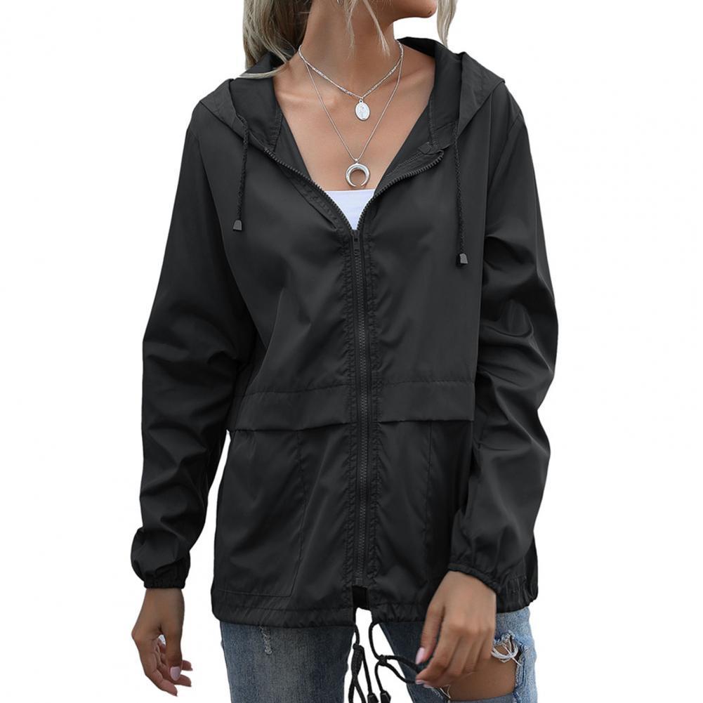 Фото - Women Jacket Fashion Solid Color Zipper Closure Hooded Jacket Thin Long Sleeve Windproof Zipper Closure Hooded Jacket Female fuzzy hooded jacket