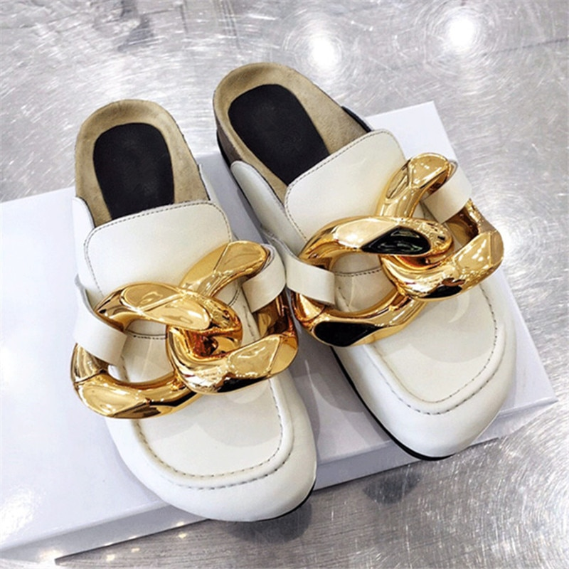 الذهب سلسلة ديكور النساء البغال كسول المتسكعون سميكة وحيد حذاء مسطح امرأة النعال غير رسمية في الهواء الطلق أحذية مشي الصيف الشرائح