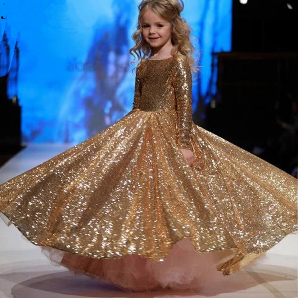 2020 Sparkly Gold Sequins Flower Girl Dresses Arabic Long Sleeve Kids Girls Birthday Party Pageant Dress