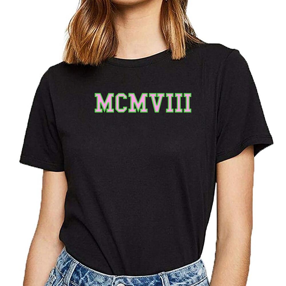 T camisa das mulheres mcmviii aka rosa verde engraçado harajuku curto feminino tshirt