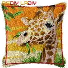 Latch Hook Cushion Animals Giraffe Printed Canvas Cushion Cover Acrylic Yarn Crochet Pillow Case Set Hobby & Crafts Home Decor