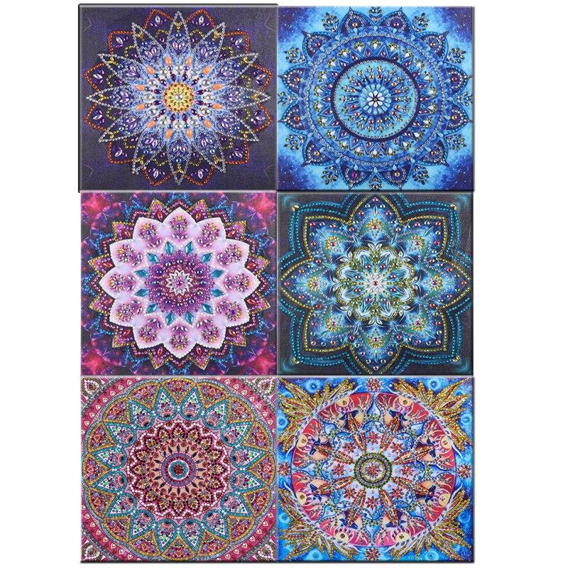 Pintura de diamante, 5d diy, mandala, flor, forma especial, agulha para pintura de diamante, strass 5d, diamante, diy, pintura de cristal