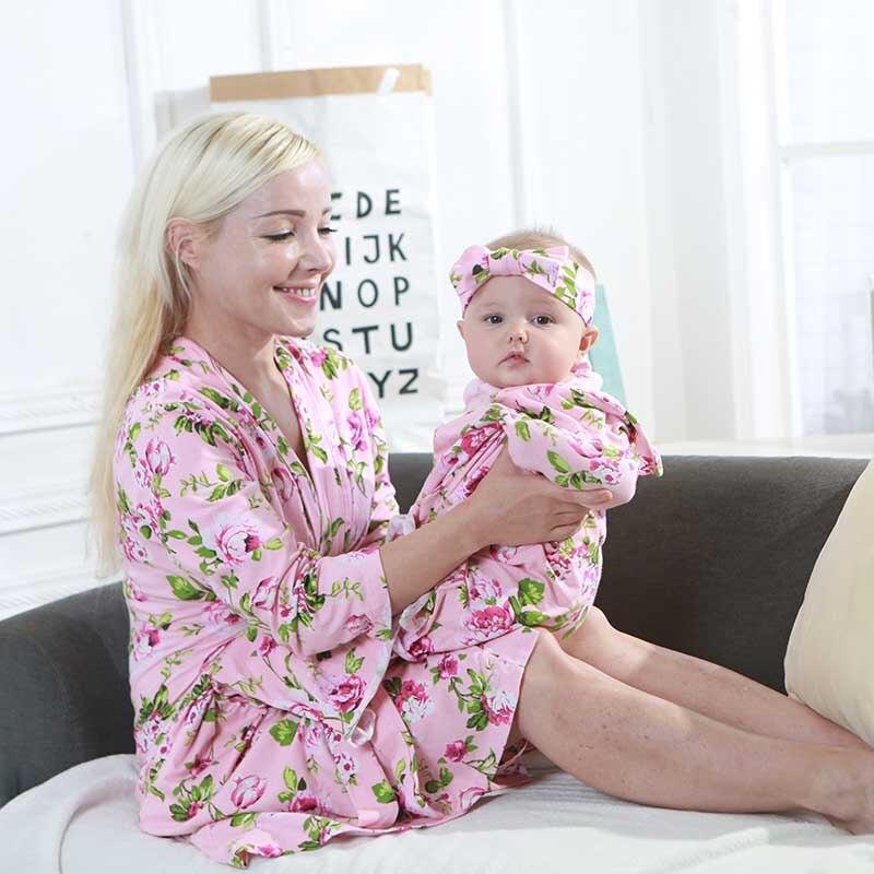 1pc/2pcs/4pcs Parent-child Sleewear Printed Women Sexy Satin Nightwear Loose Summer Sleeping Dress Women Maternity Clothes