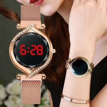 Luxury Red Led Digital Dial Women Watches Simple Ladies Bracelet Dress Magnetic Quartz Clock Luxury