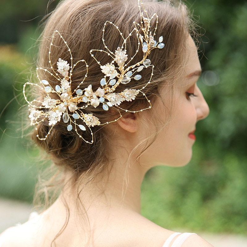 NPASON Pearl Rhinestone Headband Wedding Hair Accessories Bridal Tiaras Wedding Headband Pearl Hair Jewelry Flower Head Band