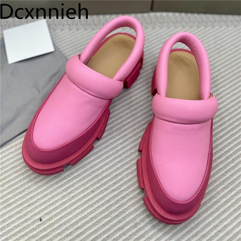 الصيف ماركة مصمم أحذية امرأة جولة تو الجلد الحقيقي البغال النساء الشقق المتسكعون السيدات أحذية منصة المدرج النعال النساء