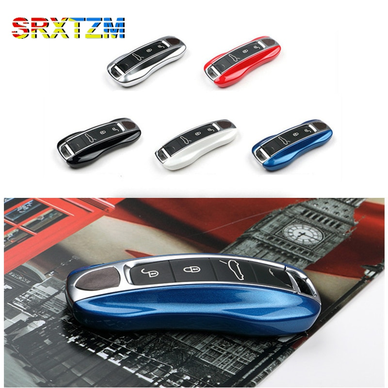 SRXTZM 2 unids/set funda de llave inteligente funda de soporte remoto 3 bolso con botones llavero para Porsche Panamá 17 +, Cayenne 2018 +