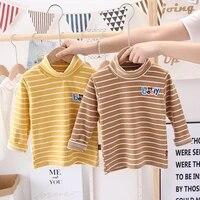 2021 spring autumn childrens stripe candy color sweet long sleeve high neck unisex kids girl boy basic turtleneck t shirt