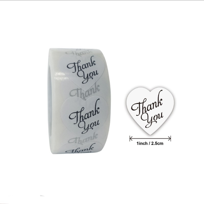 5000 pieces thank you heart-shaped thank you White love Roll Sealing Stickers Crafts Wedding Decoration Stickers
