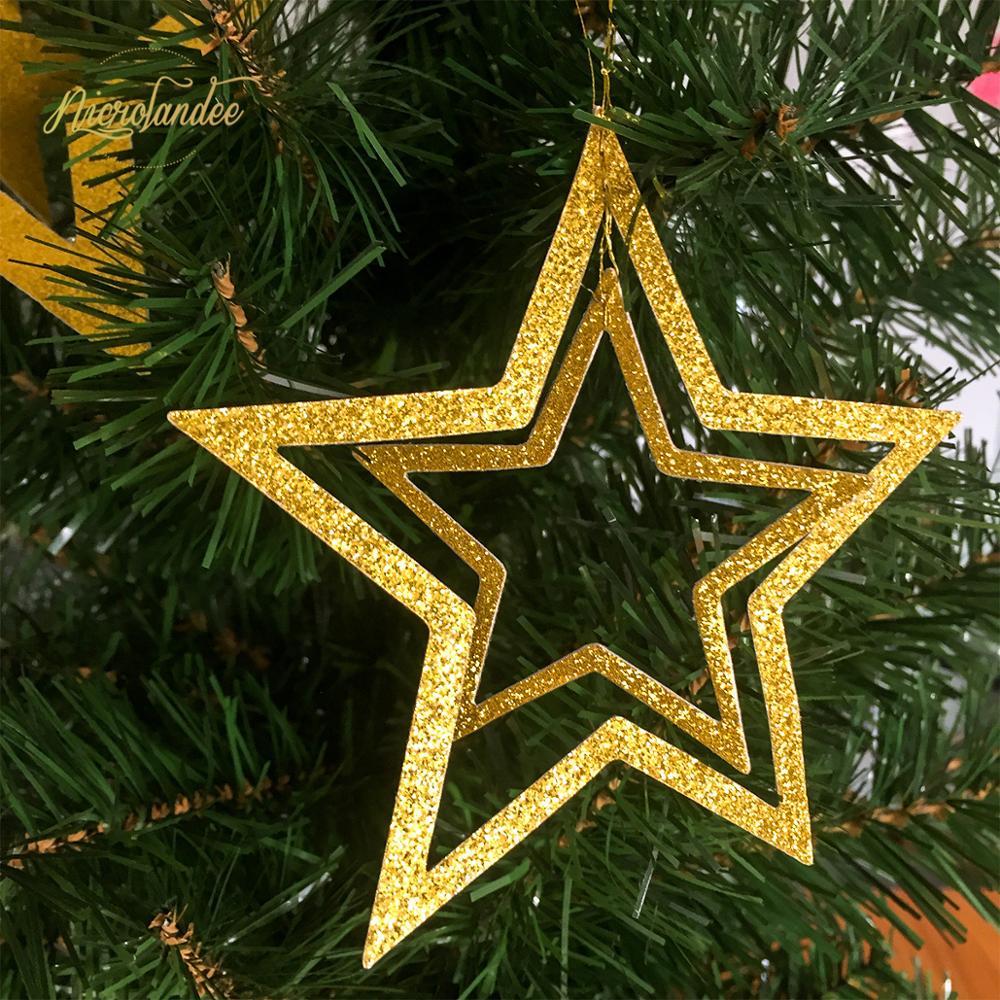 NICROLANDEE 5 colores 7 unids/set estrella Garland hueco 3D decoración de Navidad...