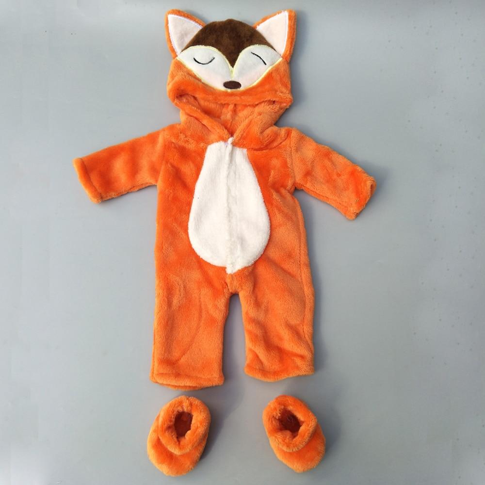 """40cm roupas de boneca para 38cm bebe roupas de boneca calças bonito dos desenhos animados raposa conjunto para 17 """"boneca conjunto macacão de pele"""