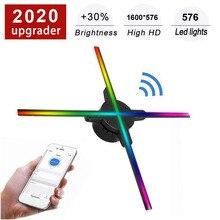 Wifi 3D hologramme projecteur ventilateur 576 LED holographique imagerie lampe lecteur 3D à distance publicité affichage projecteur lumière avec 16G TF