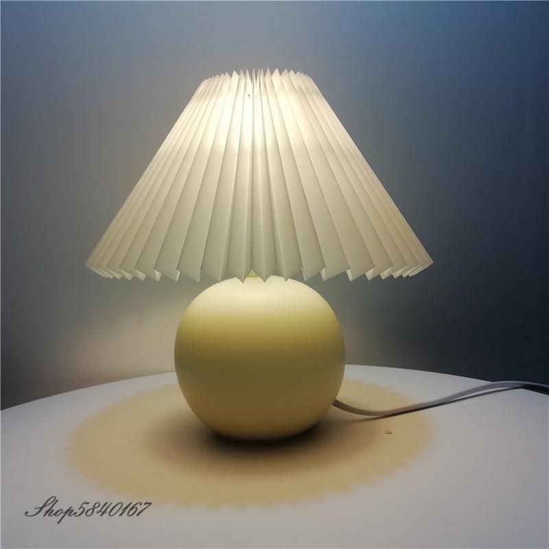 الكورية مطوي الجدول مصباح Ins لتقوم بها بنفسك السيراميك مصابيح طاولة لغرفة المعيشة ديكور المنزل لطيف مصباح مع ثلاثة ألوان led لمبة بجانب مصباح