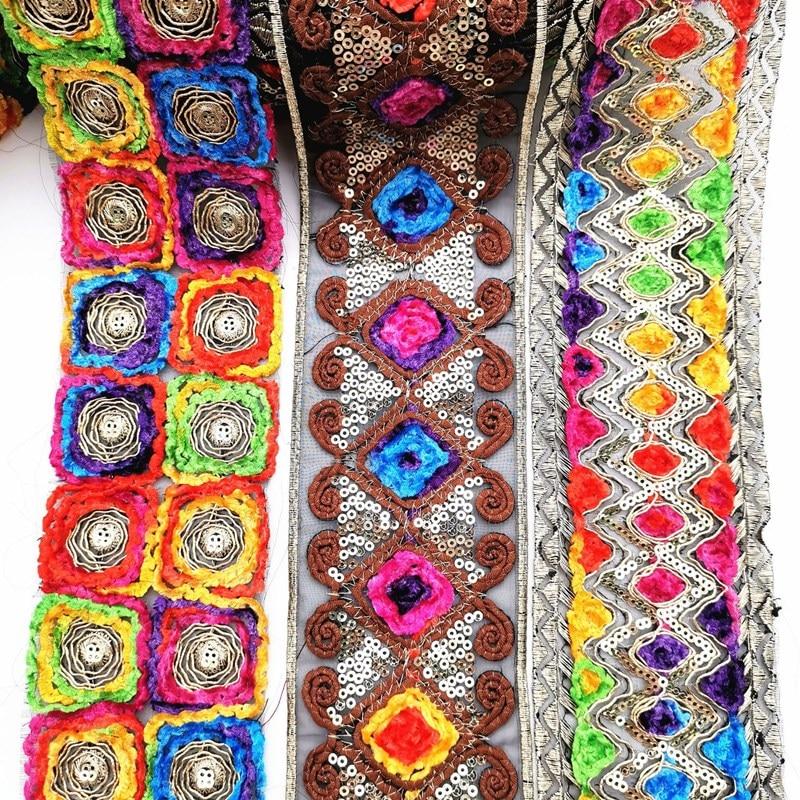 1 yarda bordado étnico encaje bordado de lentejuelas cinta tela de cosido de encaje para bolsa accesorios para manualidades