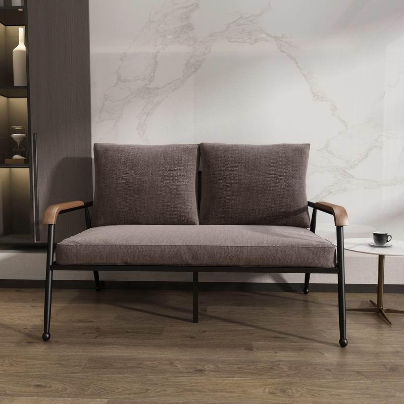 Cadeira estilo nórdico design de moda metal quadro preto ferro sofá 2 lugares com ciclo duplo