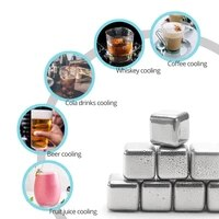 6 pcs stainless steel whiskey ice cube reusable chilling stones wine beer cooling stones physical cooling tool