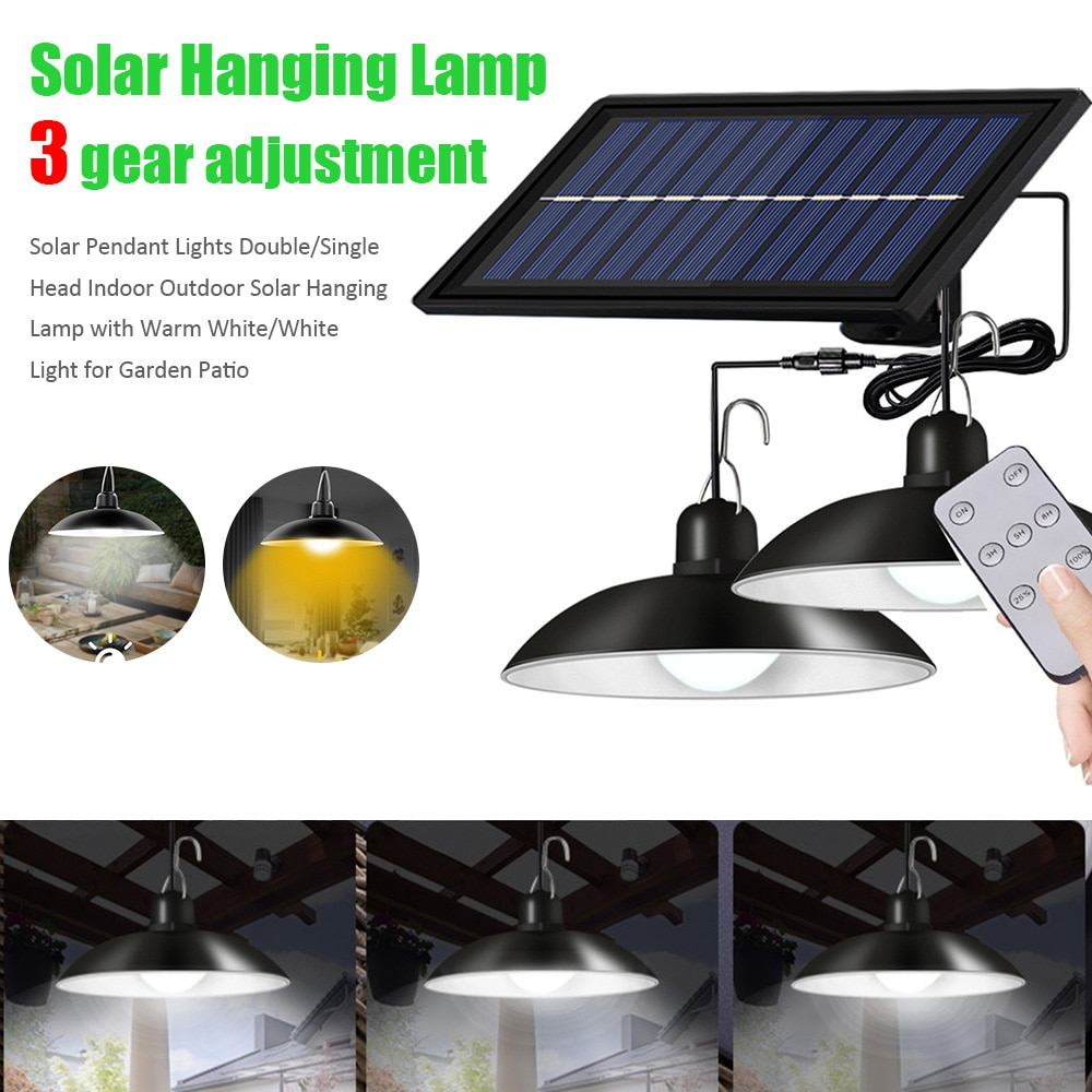 Solar Pendant Lights Double/Single Head Indoor Outdoor Solar Hanging Lamp with Warm White/White Light for Garden Patio
