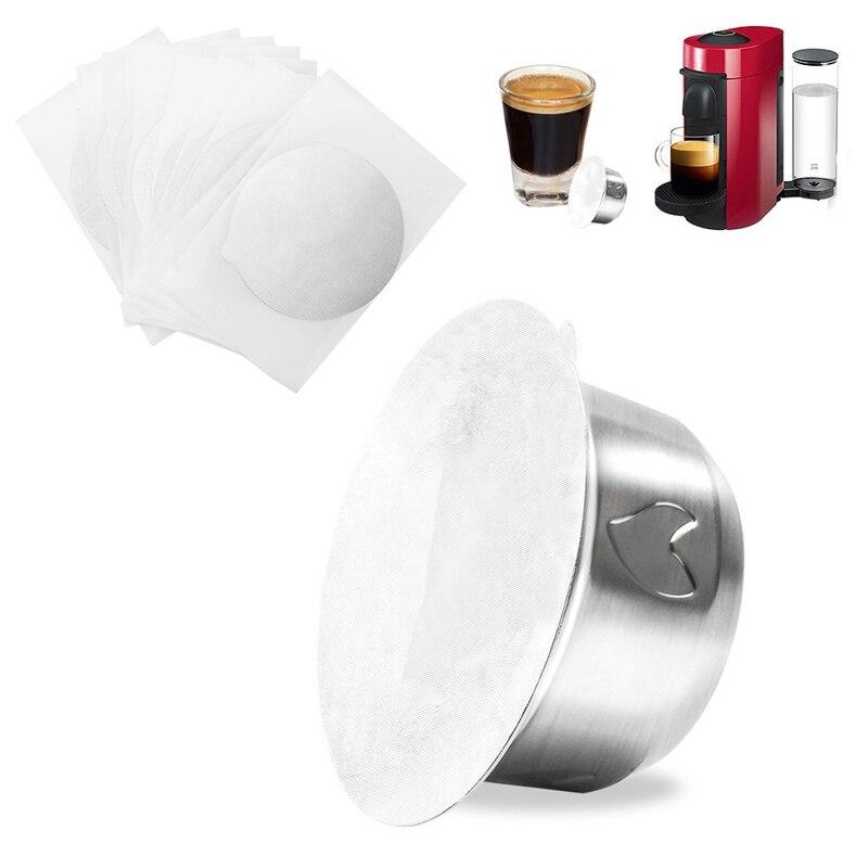 2.5Oz إعادة الملء Vertuo كبسولات القهوة قابلة لإعادة الاستخدام مضخة قهوة مع 30 أغطية رقيقة ل Vertuoline GCA1 و Delonghi ENV135