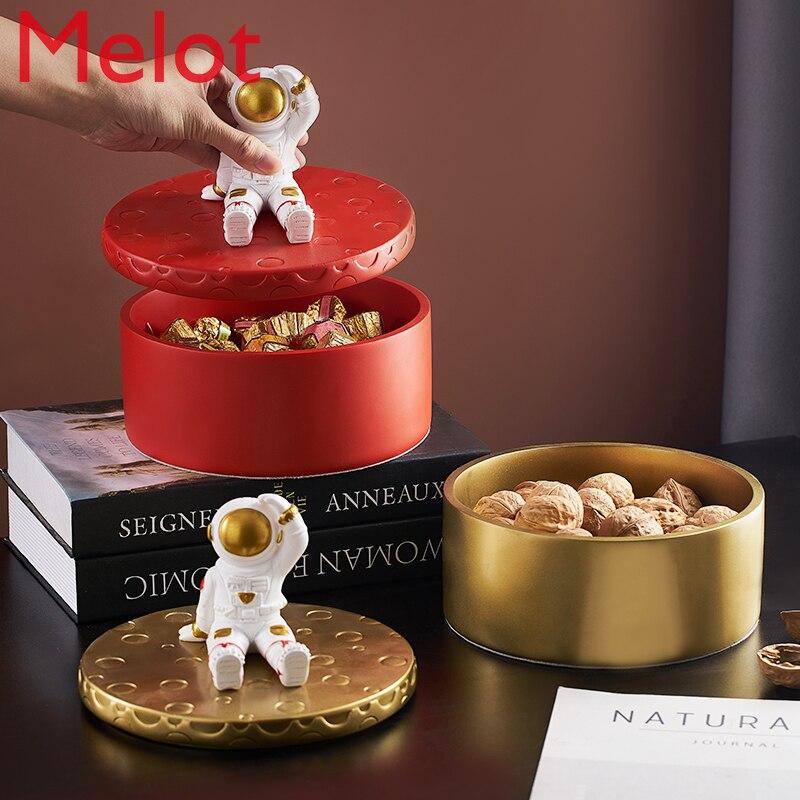 Creative Cute Exquisite Astronaut New Year Candy Box Cotton Swab Jewelry Storage Box Coffee Table Storage Jar Decoration
