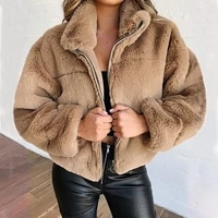 women jackets 2021 winter rabbit fur faux fur zipper cardigan plush warm coats women fashion solid color jackets women donsignet