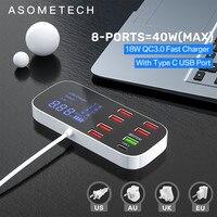 Зарядное устройство с цифровым дисплеем, USB-хаб для быстрой зарядки мобильный телефон планшета, адаптер для быстрой зарядки для iPhone, xiaomi, huawei...
