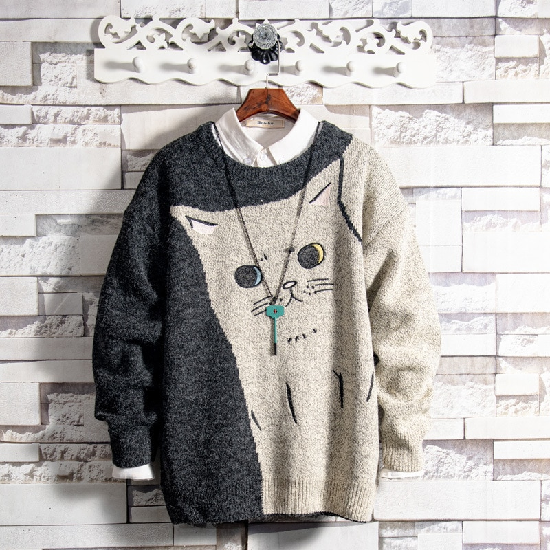 Wholesale embroidery teenagers casual Couple cat sweater men's autumn and winter lazy warmth base thick  sweater