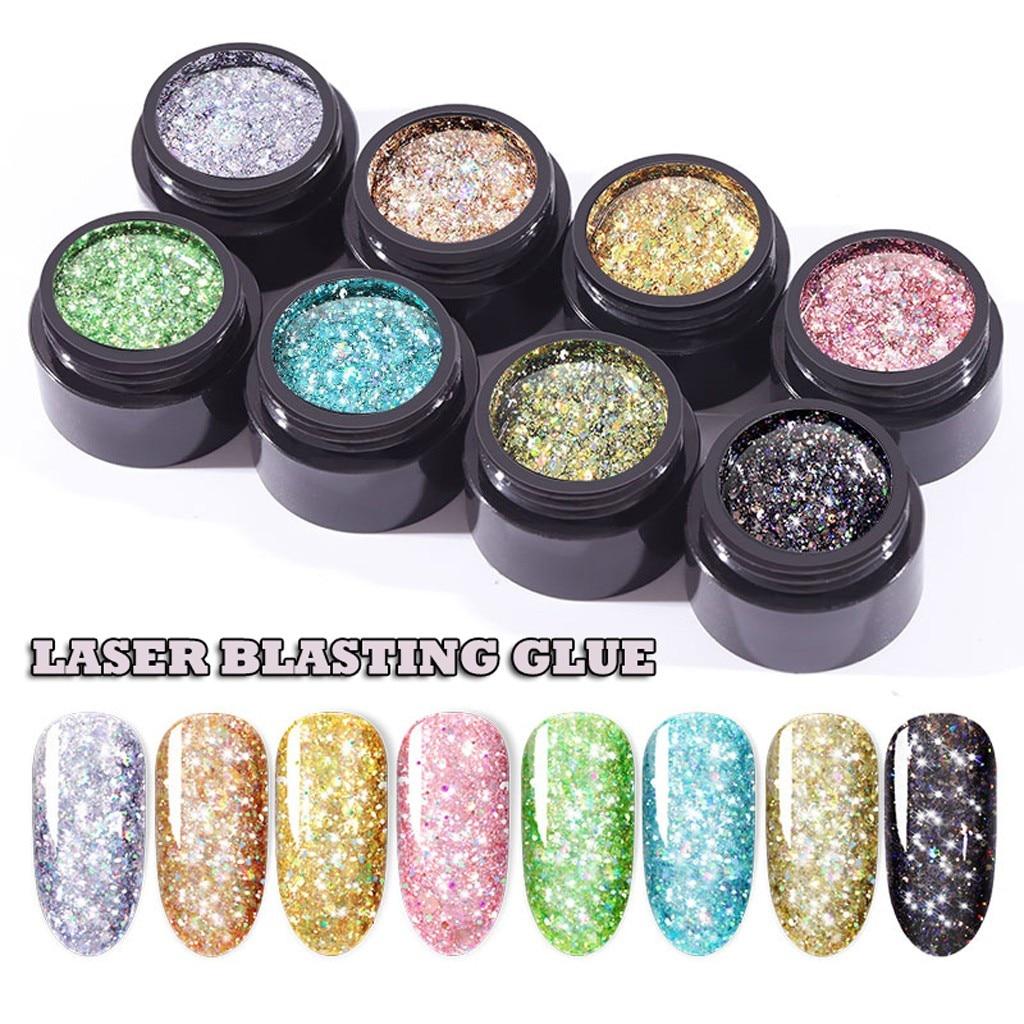 Brillo holográfico esmalte de uñas de Gel de diamantes 8 colores 5ml Auroras Flash lentejuelas Gel de uñas Lakiery Hybrydowe lámpara UV arte de uñas yc8