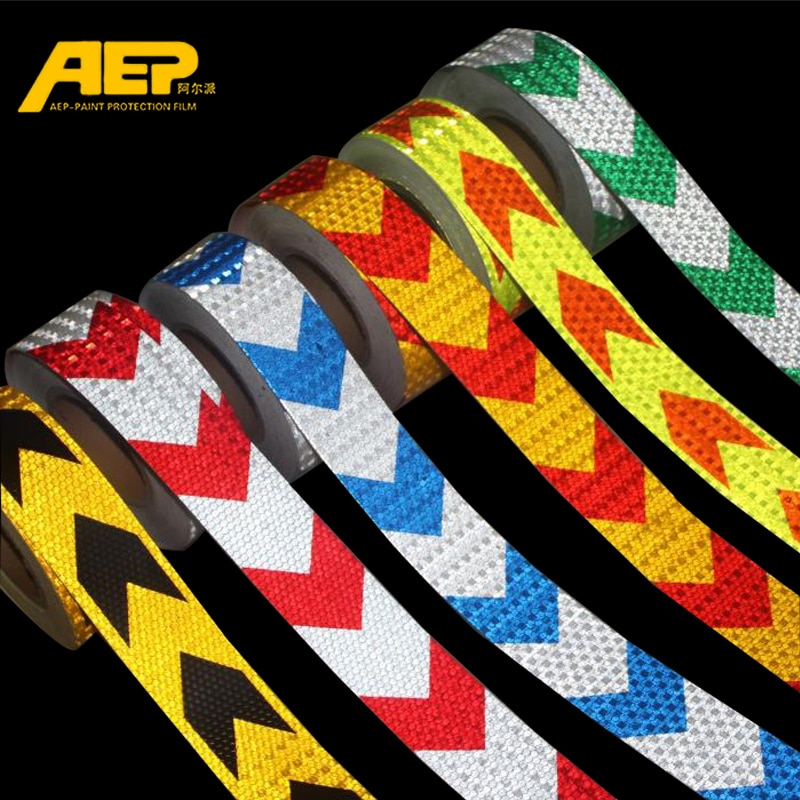 5cm*3m Car Safety Mark Warning Tape Reflective Strip Arrow Lattice Stickers For Bicycle Car Exterior Decoration Accessories