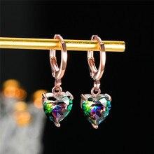 Femme luxe amour coeur multicolore boucles doreilles or Rose argent couleur mariage boucle doreille mignon arc-en-ciel cristal boucles doreilles pour les femmes