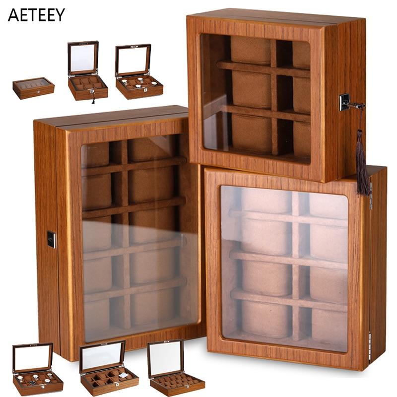 New Wooden Watch Box Matte Wood Texture Lockable Watch Boxes Storage Organizer Box Window Display Up