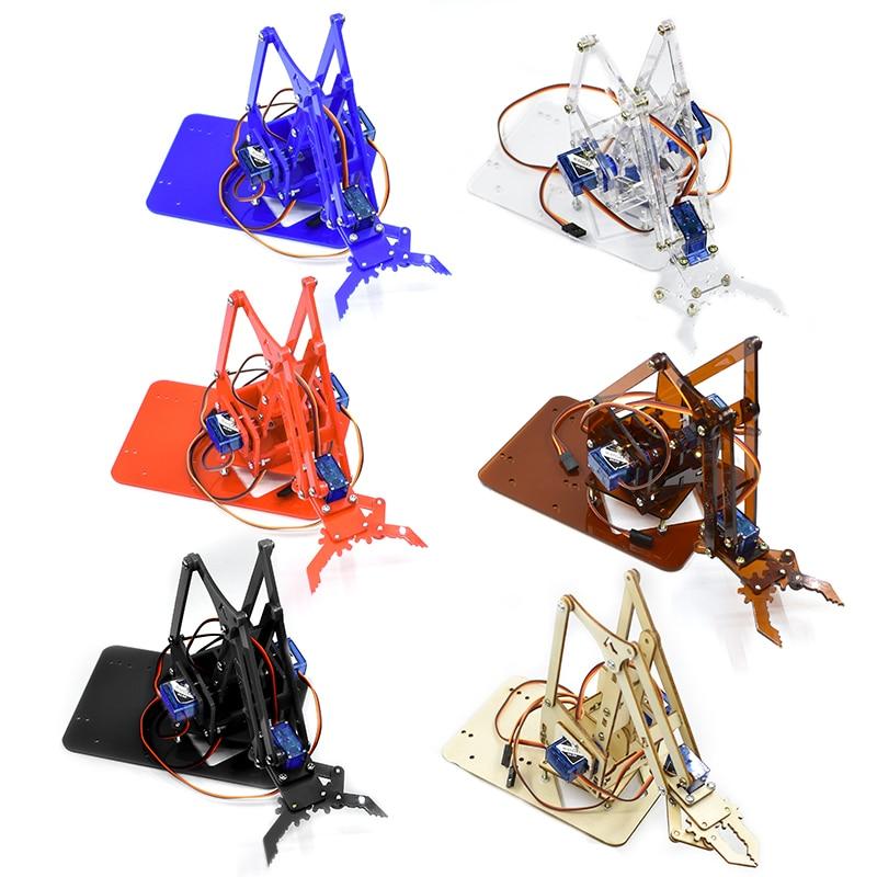 ذراع روبوت ميكانيكية أكريليك SG90 MG90S 4 DOF ، مخلب مناور صانع Arduino ، مجموعة أدوات التعلم DIY