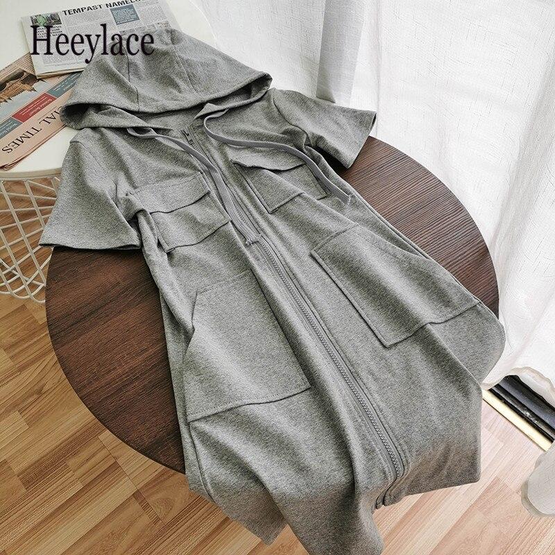 2020 vestido Casual de verano para mujer con capucha bolsillos ropa de calle con cremallera estilo coreano Vestido de manga corta gris negro vestidos deportivos