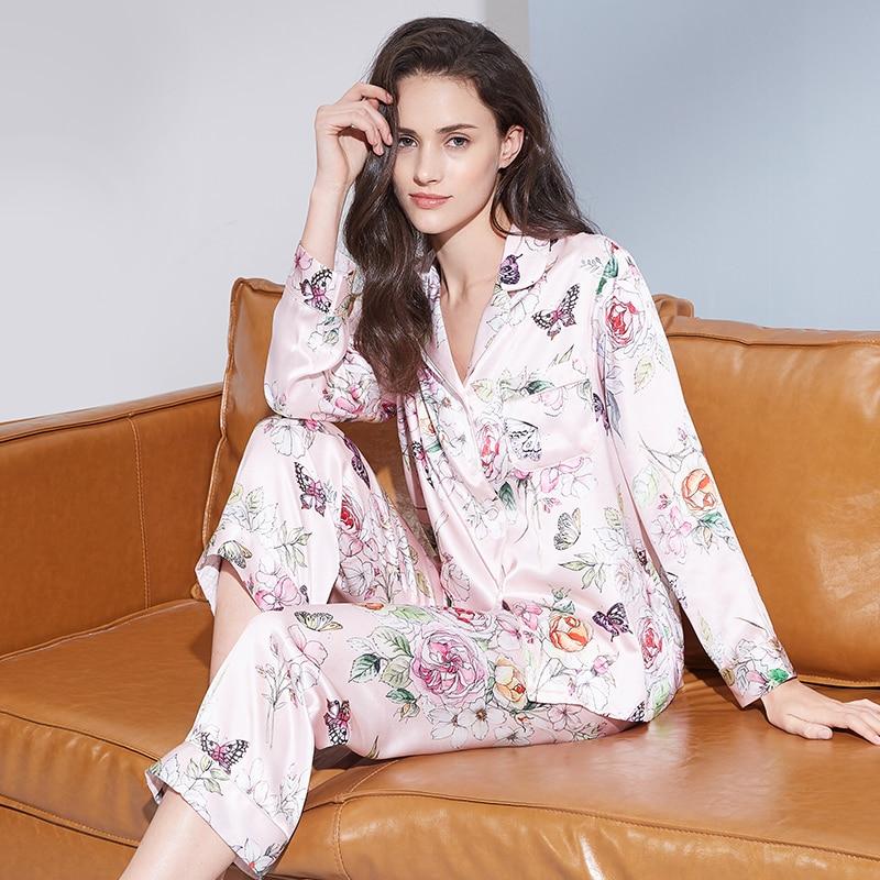 بيجاما حريرية ساتان بأكمام طويلة ، ملابس نوم نسائية ، طباعة زهور ، 100%