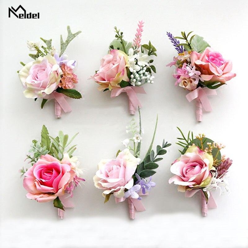 Meldel Rosa ramillete de muñeca de boda de calidad flores para la muñeca de novia pulsera de la muchacha de los hombres ramillete de boda único