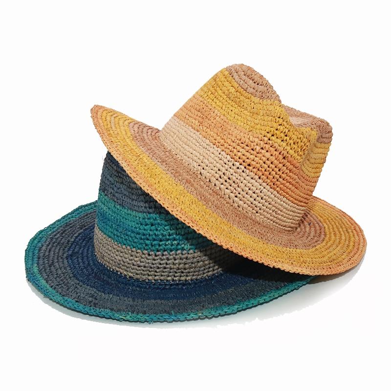 Fashion Design Panama Hats For Women And Man Handmade Crochet Stripe Raffia Beach Hats Jazz Couple Hat Summer Sun Hat Foldable