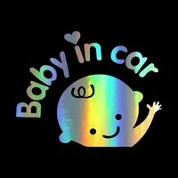 car sticker 17cm15cm baby in car waving baby on board funny decal reflective laser vinyl sticker 3d car styling