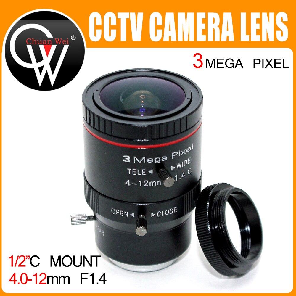 3 Мегапикселя HD 4-12 мм объектив C Mount промышленный объектив Vari-Focal руководство Ирис cctv объектив для CCTV HD камера коробка