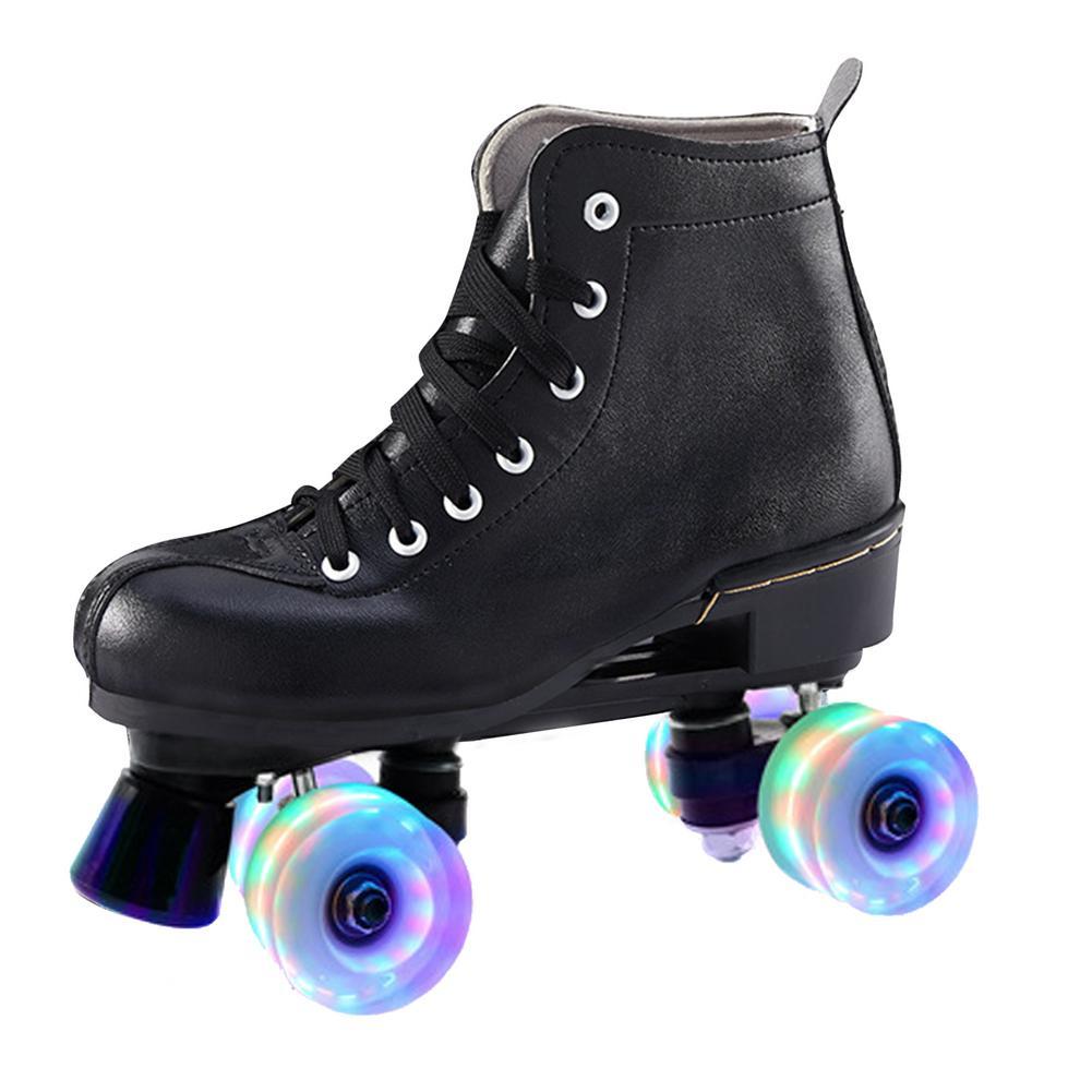 Двухрядные мигающие роликовые коньки из искусственной кожи, 4-колесные роликовые коньки с передним тормозом, светящиеся роликовые коньки д...