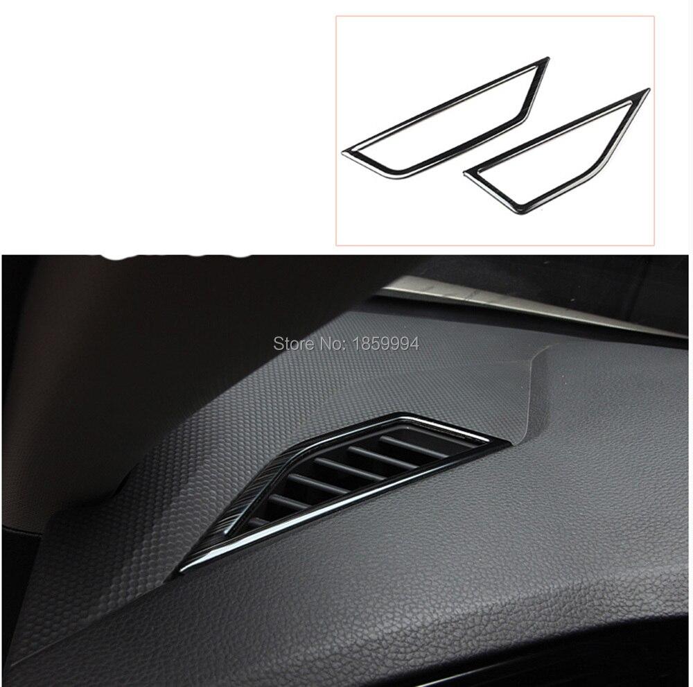 Накладка на приборную панель VW Tiguan mk2 LHD, хромированная черная накладка на вентиляционное отверстие, передняя вставка, для 2017, 2018, 2019