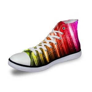 HaoYun Women Vulcanize Shoes Colorful Lights Design Ladies High-top Canvas Shoes Girls Lace-up Sneakers Shoes Sapato Feminino